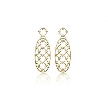 Precious Jewellery Babette Wasserman Oval Chandelier Diamond Earrings Gold £620.00