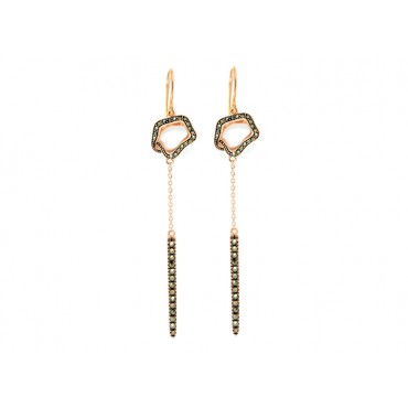 Earrings Babette Wasserman Open Flower Drop Earrings Marcasite Rose Gold £163.00