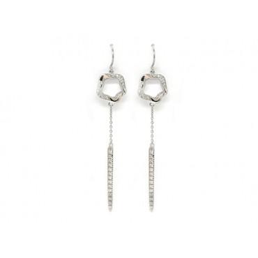 Earrings Babette Wasserman Open Flower Drop Earrings Crystal Silver £153.00