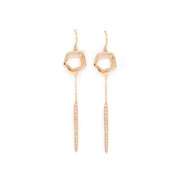 Earrings Babette Wasserman Open Flower Drop Earrings Crystal Rose Gold £163.00