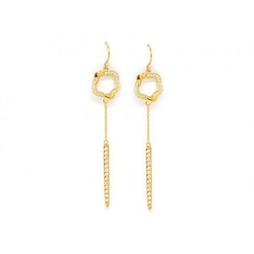 Earrings Babette Wasserman Open Flower Drop Earrings Crystal Gold £163.00