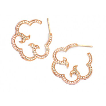 Earrings Babette Wasserman Cloud Hoop Earrings Crystal Rose Gold £210.00