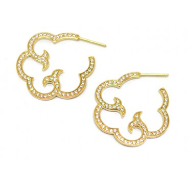 Earrings Babette Wasserman Cloud Hoop Earrings Crystal Gold £210.00