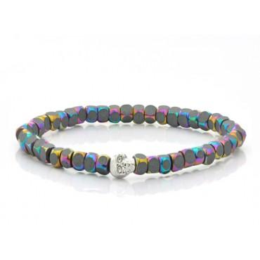 Bracelets Babette Wasserman Skull Cube Bracelet Petrol Hematite £66.00