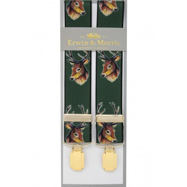 Country Trouser Braces Erwin & Morris Made In Uk Green Stags Head 35Mm Elastic With Guilt 4 Clips Trouser Braces £30.00