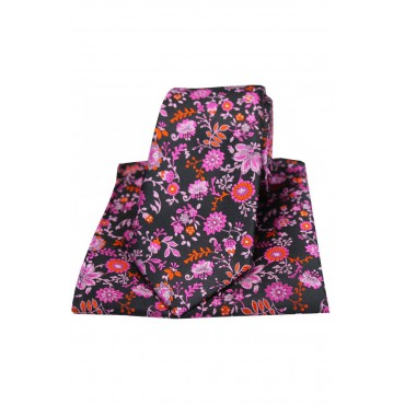 Posh And Dandy Tie And Hanky Set Posh & Dandy Black Pink Lilac Floral Luxury Silk Tie And Pocket Square-ST-TPSPD0010 £60.00