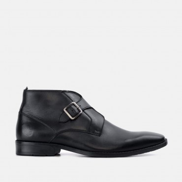 Men's Monk Strap Shoes GoodwinSmith Logan Black Leather Monk Strap Ankle Boot £50.00