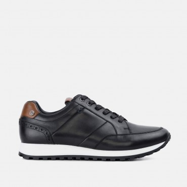 Bucking Good Shoes GoodwinSmith Canvey Black Smart Leather Casual Trainer £35.00