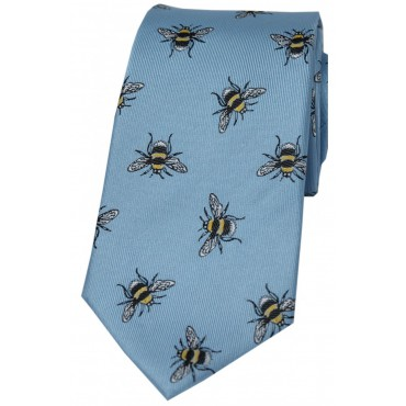 Silk Ties Soprano Ties Pastel Blue Bumble Bee Luxury Silk Tie £25.00