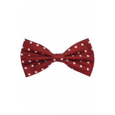 Bow Ties Soprano Ties Soprano Wine And White Polka Dot Silk Pre Tied Bow Tie £27.00