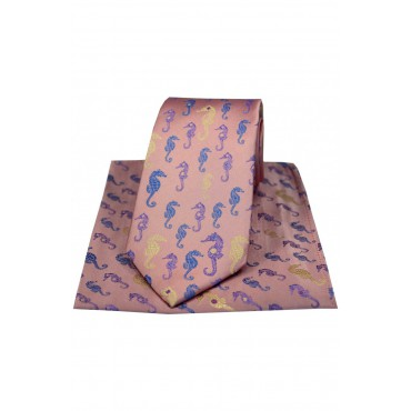 Posh And Dandy Tie And Hanky Set Soprano Ties Posh & Dandy Multi Coloured Sea Horses On Pink Ground-ST-TPSPD280 £60.00