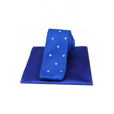 Mix And Match Tie And Hanky Sets Soprano Ties Soprano Blue Spotted Thin Knitted Polyester Tie With Plain Silk Hanky £40.00