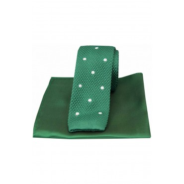 Mix And Match Tie And Hanky Sets Soprano Ties Soprano Green Spot Thin Knitted Polyester Tie With Green Plain Silk Hanky £40.00