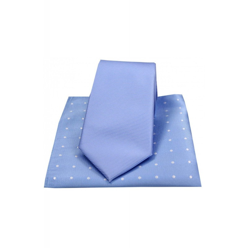 Mix And Match Tie And Hanky Sets Soprano Ties Soprano Sky Blue Polyester Tie With Polka Dot Silk Hanky £30.00
