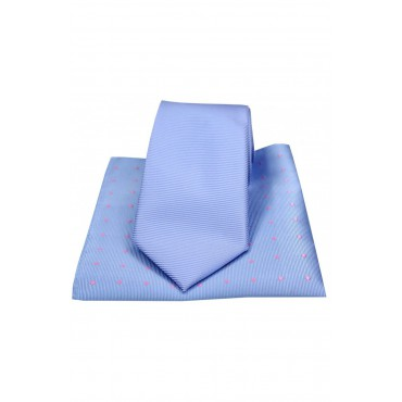 Mix And Match Tie And Hanky Sets Soprano Ties Soprano Plain Sky Blue Polyester Tie With Polka Dot Silk Hanky £30.00