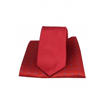 Mix And Match Tie And Hanky Sets Soprano Ties Soprano Plain Red Silk Tie With Polka Dot Silk Hanky £40.00