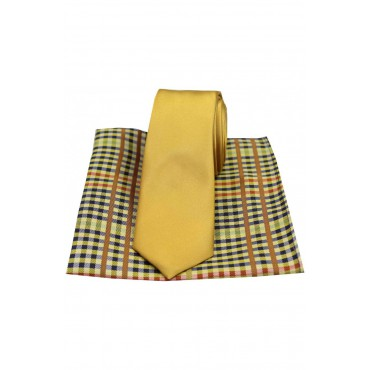 Mix And Match Tie And Hanky Sets Soprano Ties Soprano Plain Gold Slim Silk Tie With Checked Pattern Silk Hanky £40.00