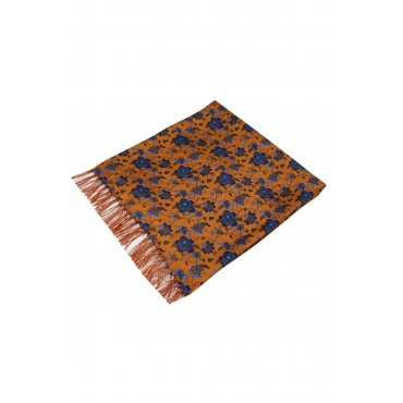 Scarves Soprano Ties Soprano Edwardian Orange With Blue Flowers Silk Aviator Scarf £49.00