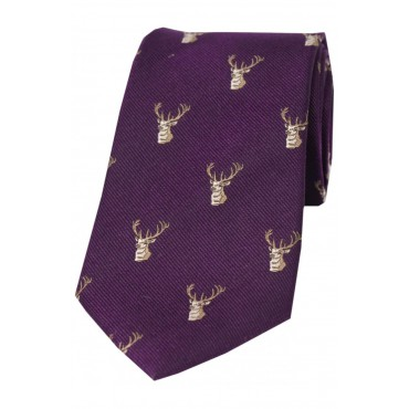 Country Ties Soprano Ties Soprano Stags Heads On Brown Rust Ground Country Silk Tie-ST-WCR006 £35.00
