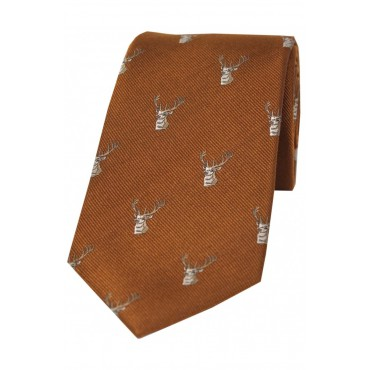 Silk Ties Soprano Ties Soprano Stags Heads On Brown Rust Ground Country Silk Tie £29.00