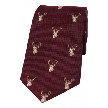 Country Ties Soprano Ties Soprano Stags Heads On Wine Ground Country Silk Tie-ST-WCR004 £35.00