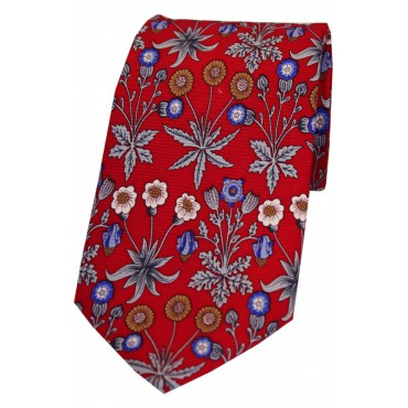 Luxury Ties Soprano Ties Red With Multi Coloured Flowers Luxury Silk Tie-ST-VA-09 £33.00