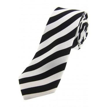 Slim Ties Soprano Ties Soprano Black And White Striped Thin Silk Tie £25.00