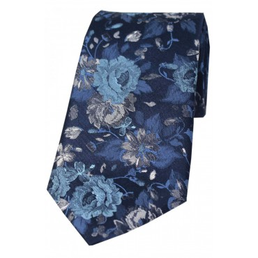 Luxury Ties Soprano Ties Posh & Dandy Italian Design Navy With Large Flowers Silk Tie-ST-PD423 £50.00