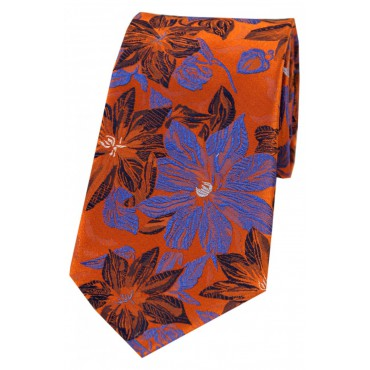 Posh & Dandy Ties Soprano Ties Posh & Dandy Orange And Blue Large Flowers Silk Tie £39.00