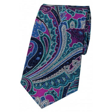 Luxury Ties Soprano Ties Posh And Dandy Large Edwardian Multi Coloured Paisley Silk Tie £50.00
