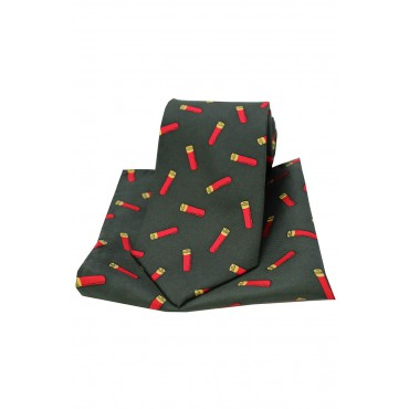 Silk Hankies Soprano Shotgun Cartridges On Dark Green Ground Country Silk Tie And Pocket Square-ST-TPSNS6102 £34.00