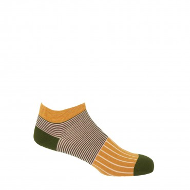 PEPER HAROW PEPER HAROW Oxford Stripe Mens Trainer Socks - Mustard £11.00