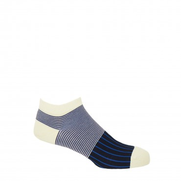 PEPER HAROW PEPER HAROW Oxford Stripe Mens Trainer Socks - Black £11.00