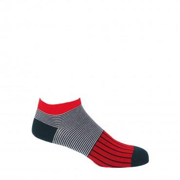 PEPER HAROW PEPER HAROW Oxford Stripe Mens Trainer Socks - Scarlet £11.00