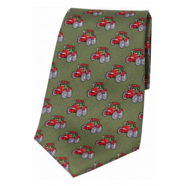 Silk Ties Soprano Ties Soprano Red Tractors On Country Green Ground Country Silk Tie £22.00