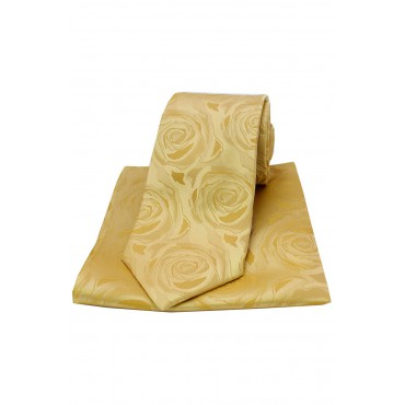 Pocket Square Soprano Ties Soprano Gold Rose Wedding Matching Silk Tie And Pocket Square-ST-TPSWE005 £34.00